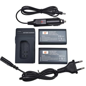 DSTE 2x DMW-BLJ31e Camera Battery with EU Plug Charger and Car Adapter for Panasonic DMW-BGS1R,Lumix DC-S1,DC-S1R,DC-S1H
