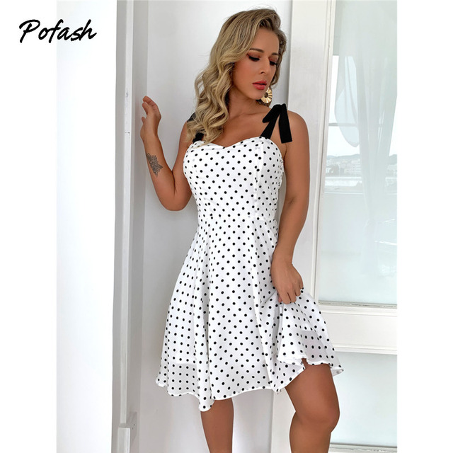 Pofash White Dot Summer Dress Women Bow Black Spaghetti Strap Sexy Backless Mini Dresses Female Ruffle Streetwear Vestidos 2021 2