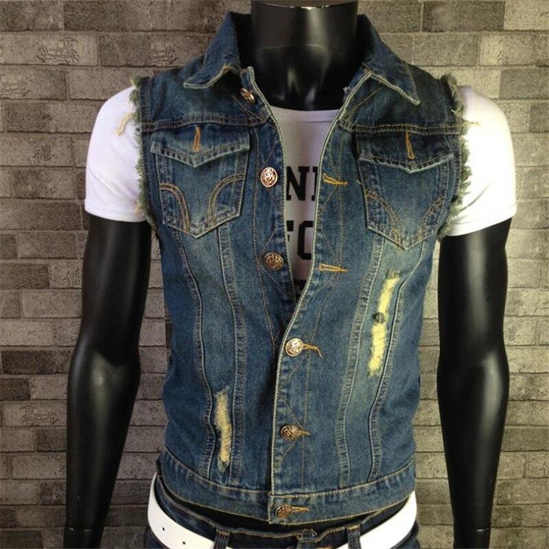 Jeans sem Mangas Colete Tamanho Grande Jaqueta Masculina