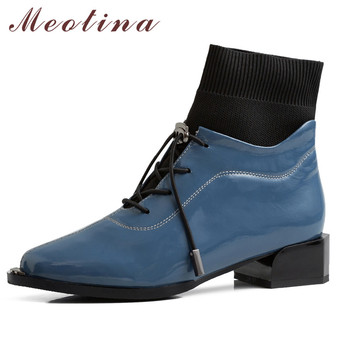 Meotina Genuine Leather Mid Heel Ankle Boots Short Boots Women Shoes Pointed Toe Thick Heels Lace Up Female Boots Autumn Winter brand women boots pointed toe flat shoes autumn winter purple blue orange boots short ladies western mid calf boots for women
