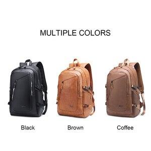 Image 5 - בציר 15.6 עור תרמיל מחשב נייד גברים של שחור Bagpack בחזרה חבילות ציקי לגברים עור המוצ ילה תרמיל