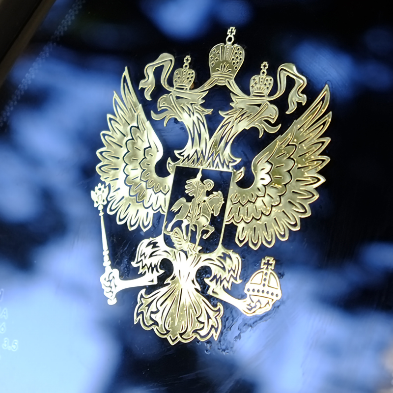 Three Ratels Coat Of Arms Of Russia Nickel Metal Decals Russian Federation Car Stickers For Mobile Phone Eagle Emblem For Car