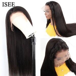 Image 4 - Isee 머리 360 레이스 정면 가발 150% 밀도 스트레이트 레이스 정면 인간의 머리가 발 레미 브라질 인간의 머리가 발 흑인 여성을위한