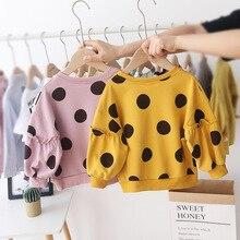 Осенне-зимние детские толстовки с капюшоном для маленьких девочек толстовки с принтом в горошек свитер с длинными рукавами футболка для маленьких девочек, одежда