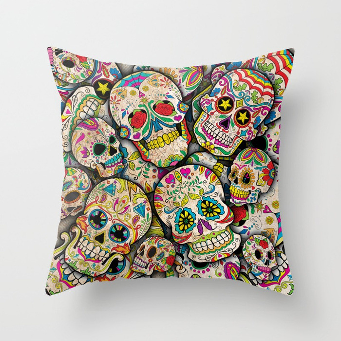 sugar-skull-collage-pillows