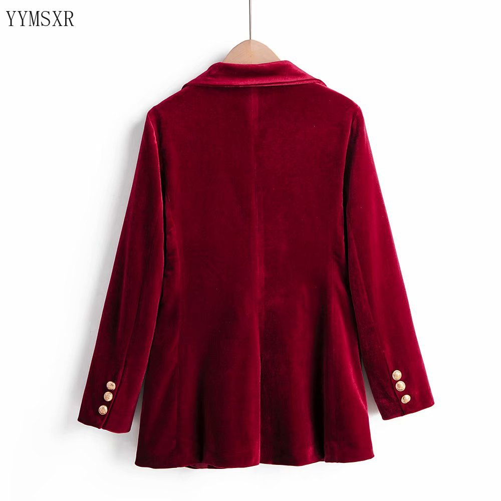 2020 new fashion spring and autumn women's suit jacket Elegant solid color velvet burgundy blazer coat Casual small suit Female