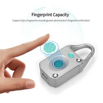 New Smart Fingerprint Padlock Mini Smart Lock 10 Fingerprint Recording Security Padlock Outdoor Travel Rechargeable Luggage Lock