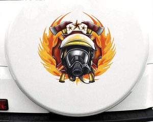 Image 1 - 43cm X 41.3cm For Firefighter Fine Decal Sunscreen Car Stickers PVC Car Door Protector Sticker Motorcycle Decoration