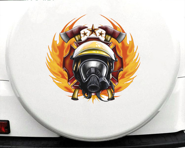 43cm X 41.3cm For Firefighter Fine Decal Sunscreen Car Stickers PVC Car Door Protector Sticker Motorcycle Decoration