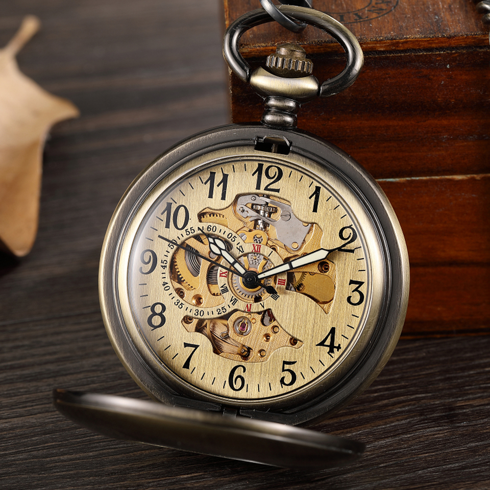 Vintage Smooth Hollow Mechanical Pocket Watch Steampunk Arabic Numerals Hand Winding Fob Watch Chain Skeleton Pendent Men Women