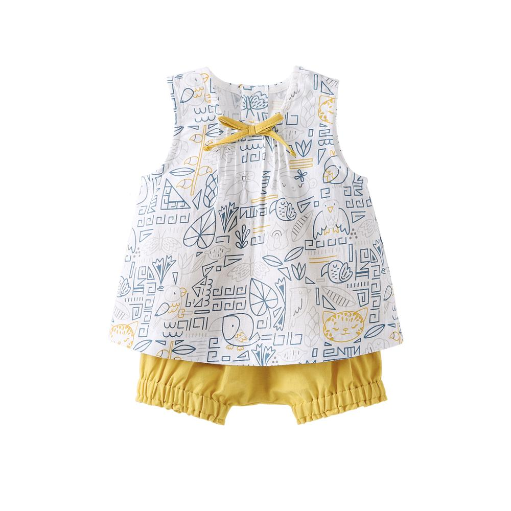 Pureborn Toddler Unisex Baby Clothing Set 2 Pcs Sleeveless Baby Tops and Short Pants Breathable Cotton Summer Baby Playsuit