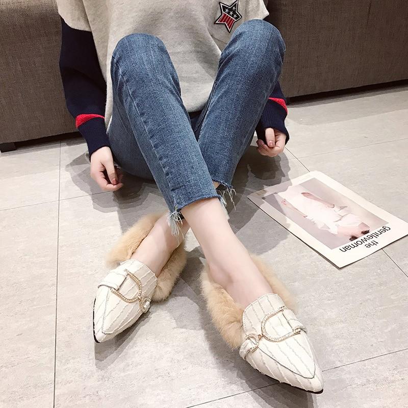 Women Plush Flats Warm Shoes Winter Plus Fur Woman Snow Ankle Boots Slip On Square Toe Comfortable Cotton Shoes Woman 42