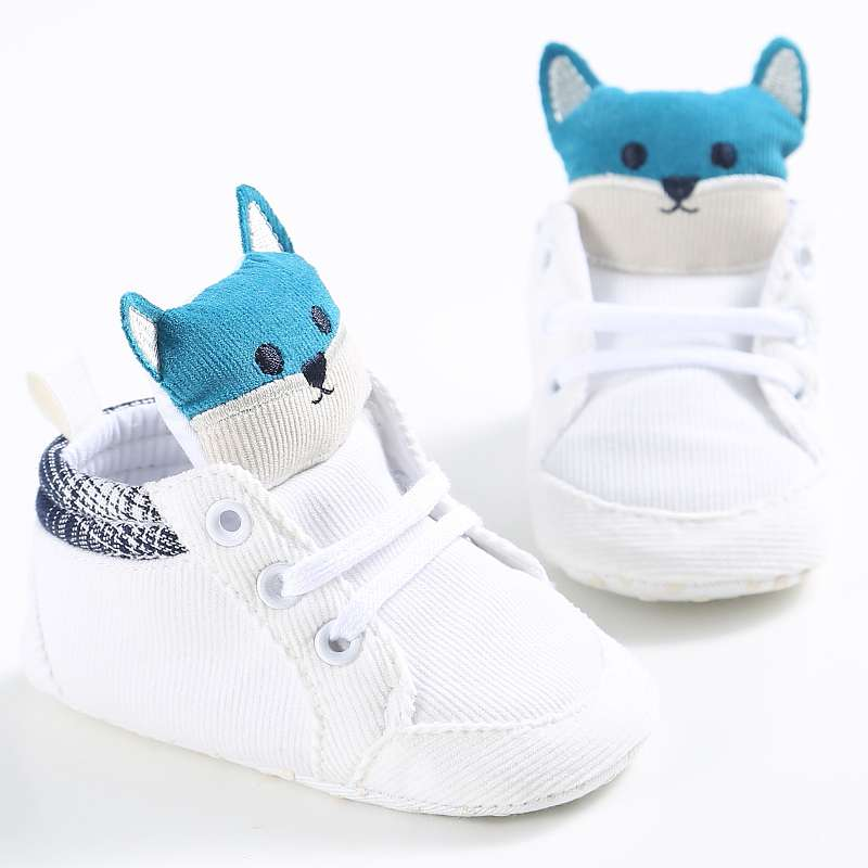 Baby Autumn Shoes Kid Boy Girl Fox Head Lace Cotton Cloth First Walker Anti-slip Soft Sole Toddler Sneaker 1 Pair 0-18M