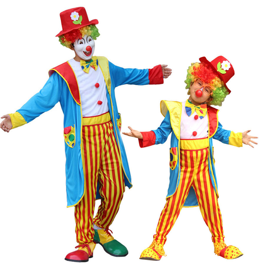 Umorden Funny Striped Kids Teen Boys Circus Clown Costume Men Plus Size 4XL 5XL Halloween New Year Party Fancy Dress