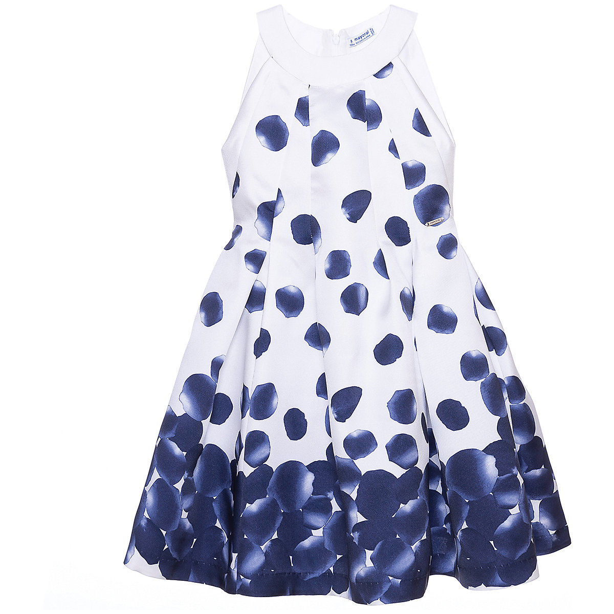 Фото - MAYORAL Dresses 10685344 Girl Children Party fitted pleated skirt Blue Polyester Preppy Style Floral Knee-Length Sleeveless Sleeve box pleated floral volume skirt