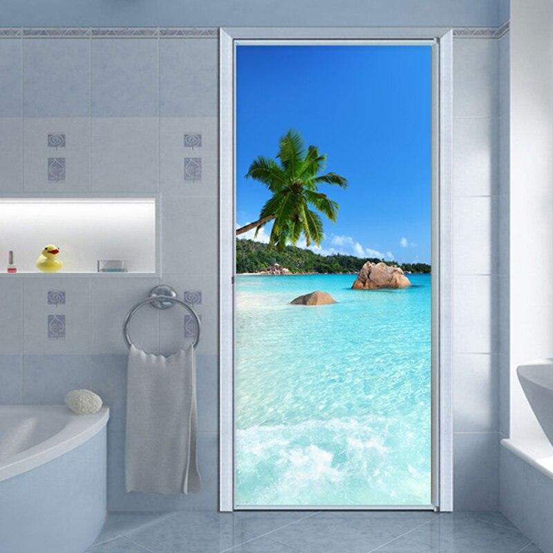 Self-Adhesive Waterproof Door Sticker 3D Sea Landscape Mural Wallpaper Living Room Bathroom Vinyl Door Poster Modern Wall Decals