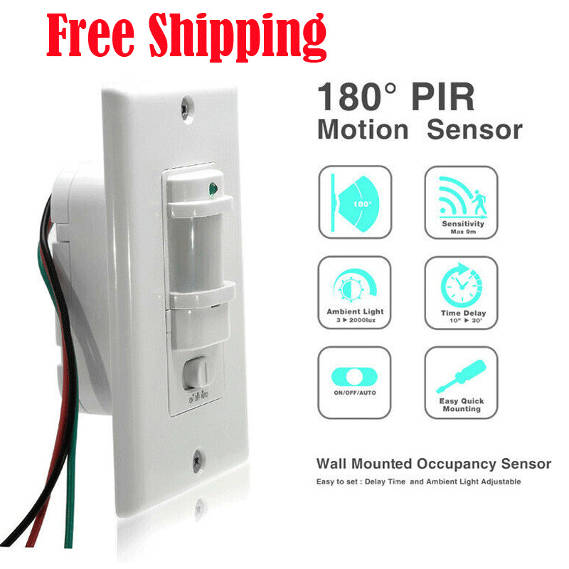 Auto On/Off Infrared PIR Occupancy Vacancy Motion Sensor Wall Light Lamp Switch Hot Sale