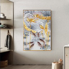 Abstract Gold Lotus Fishes Canvas Painting New Chinese Style Posters and Prints Wall Art Picture for Living Room Home Decoration