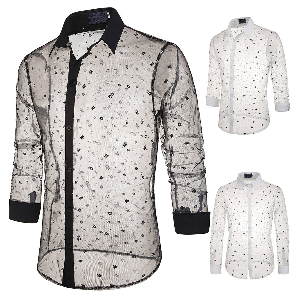 Sexy <font><b>Men's</b></font> <font><b>Mesh</b></font> Button Slim Fit Turn-Down Collar <font><b>Long</b></font> Sleeve Top Blouse <font><b>Shirt</b></font> High Capacity Hot Selling Wholesale Dropshipping image