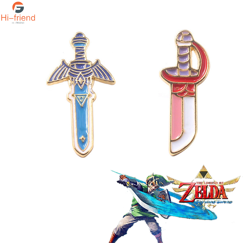 Games The Legend of Zelda Sword Knife Brooches Skyward Sword Jewelry Enamel Pin Denim Jackets Collar Backpack Badge Pins image