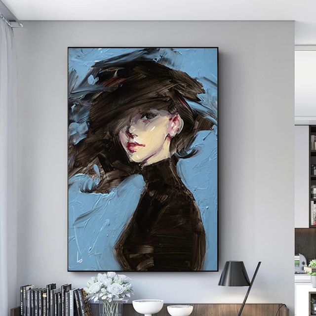 Woman on Blue Background Art Painting Printed on Canvas 1