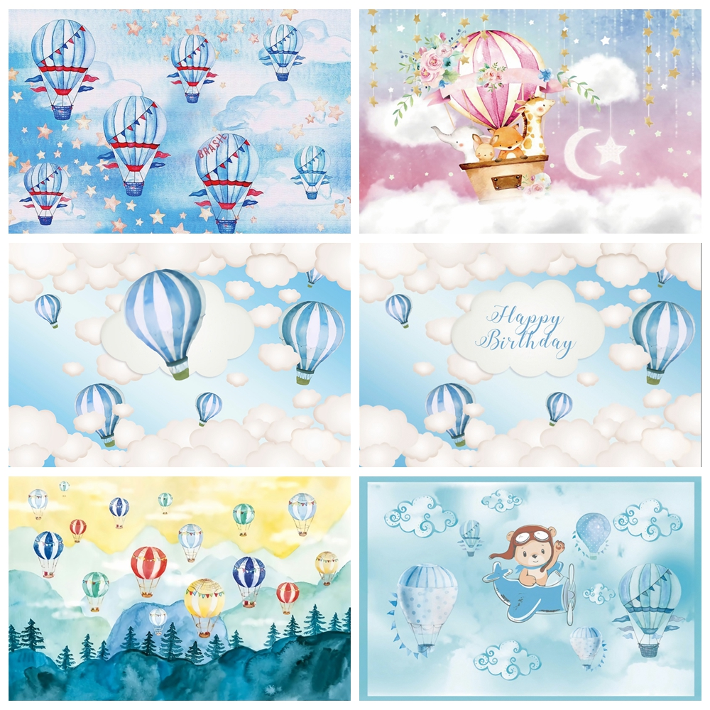 Laeacco Birthday Backdrop Blue Sky White Clouds Hot Air Balloons Stars Kids Newborn Photocall Baby Shower Photography Background