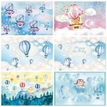 Laeacco יום הולדת רקע כחול שמיים לבן עננים פורחים כוכבים ילדים יילוד שיחת וידאו תינוק מקלחת צילום רקע