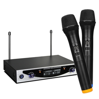 Top Deals 2 Channels UHF Wireless Handheld microphone System Professional Karaoke microphone Family KTV Dual Stereo MIC Condense