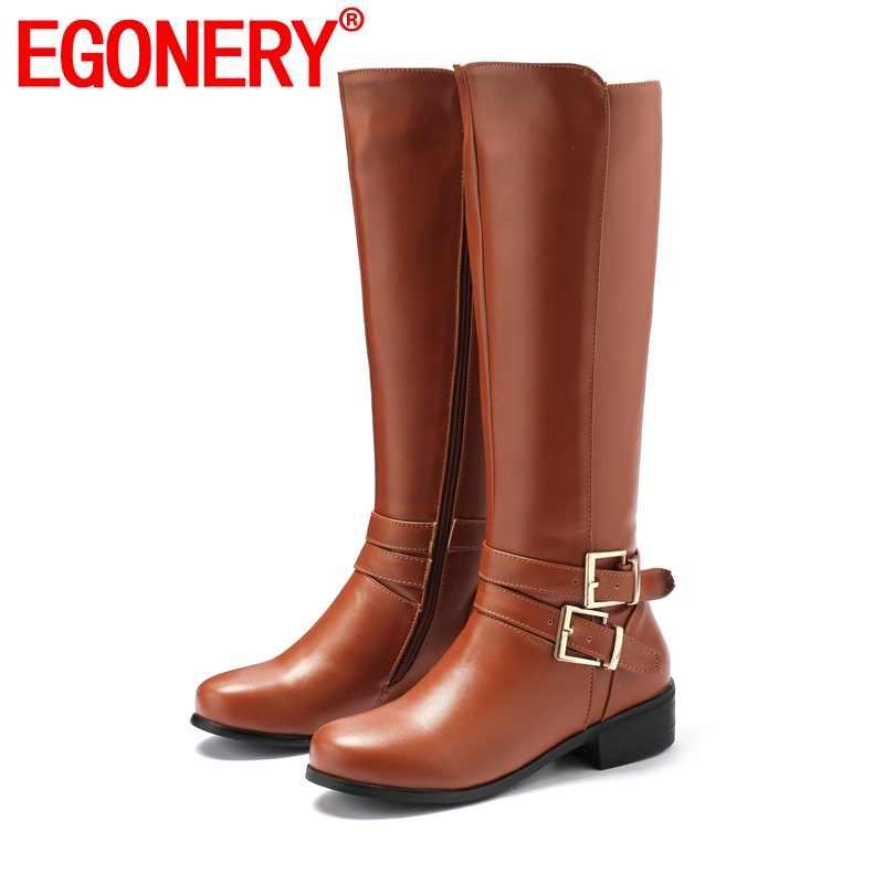EGONERY kühle knie hohe stiefel Schnalle zipper winter herbst braun schwarz warme plüsch 4,5 cm mid heels frauen schuhe drop verschiffen