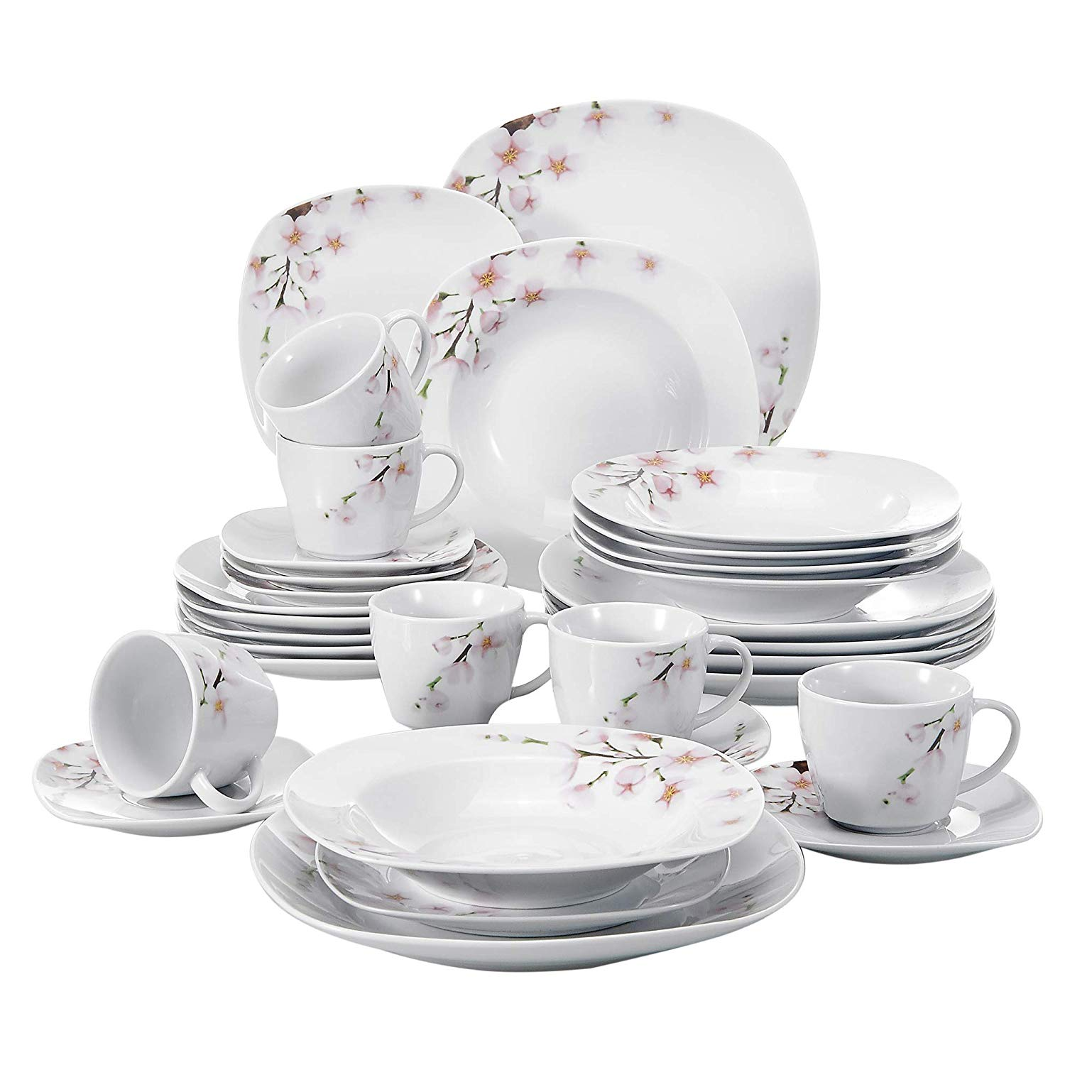 VEWEET ANNIE 30-Piece White Ceramic Pink Floral Porcelain Plate Set with Dinner Plate,Soup Plate,Dessert Plate,Cups and Saucers