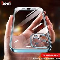 Custodia per telefono trasparente con cornice quadrata di lusso per iPhone 11 12 Pro Max Mini X XS Max XR 8 7 6 6S Plus SE 2020 5 accessori per Cover case screen