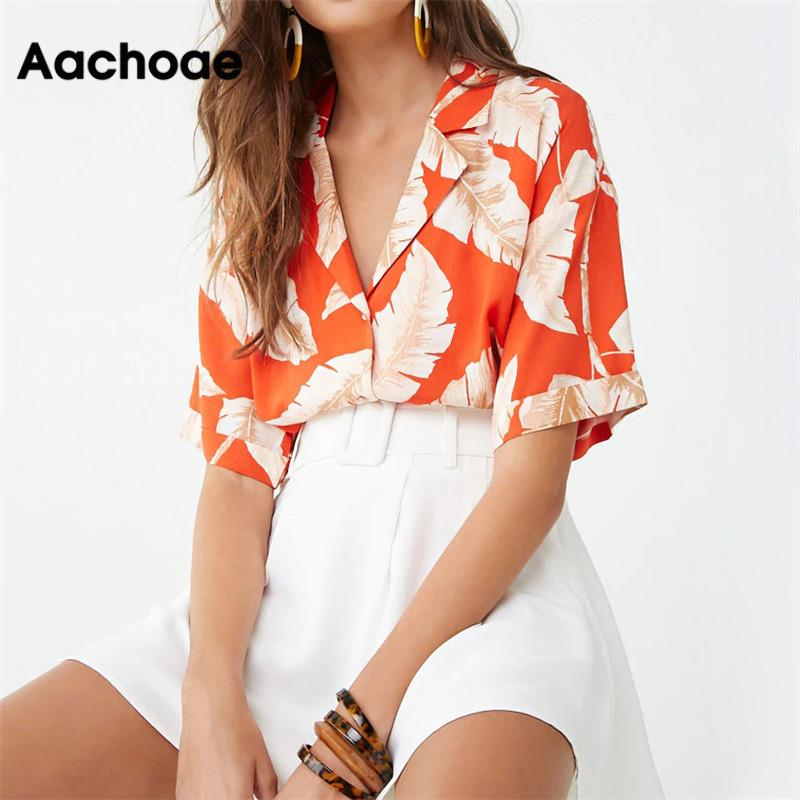 Aachoae Summer Blouse Women Short Sleeve Blouse Casual Boho Style Floral Print Tops Turn Down Collar Office Shirt Plus Size