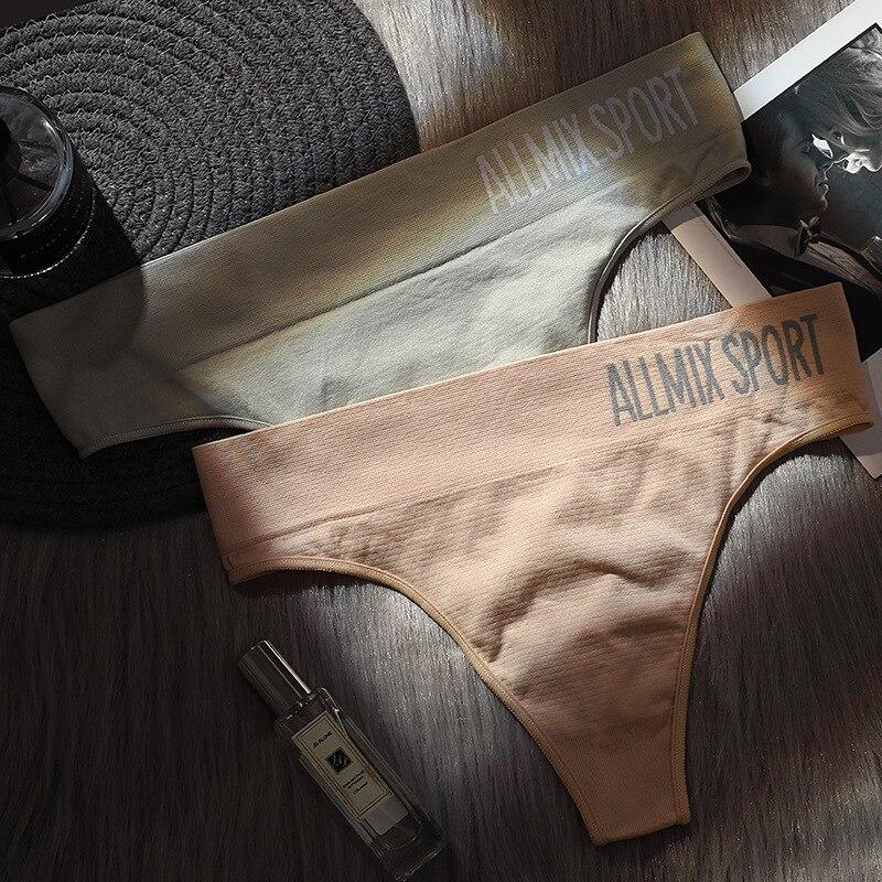New Sexy Mid Waist String Sport Panties Women Cotton Underwear Women Fashion Thong Seamless Lingerie Tanga