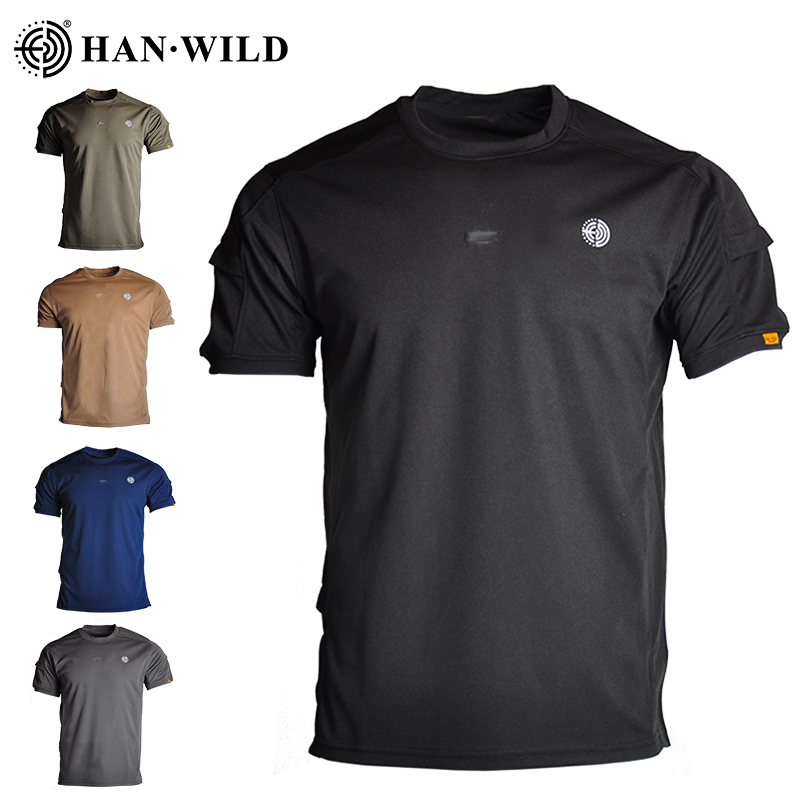 HAN WILD T-shirt Combat Tactical Short Sleeves Military Army Uniform Summer Quick Dry Breathable Suitable For Paintball Assault
