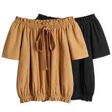 Blouse Women Summer Plus Size Slash Neck Shirt