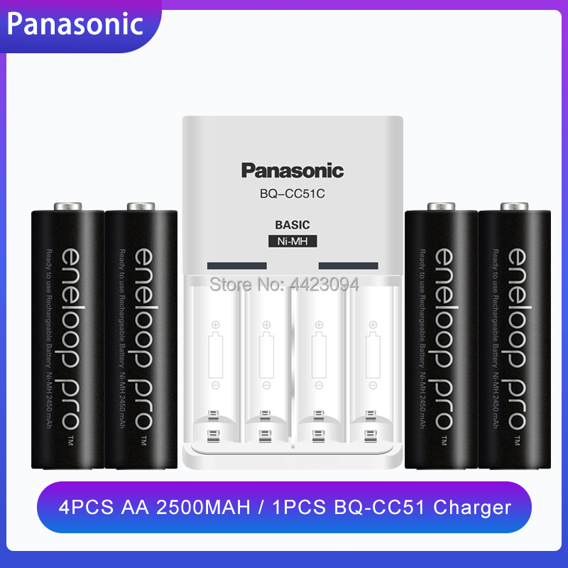 4PCS Panasonic Eneloop Battery AA 2500mAh 1.2V NI-MH Camera Flashlight Toy Pre-Charged Rechargeable Batteries + BQ-CC51 Charger