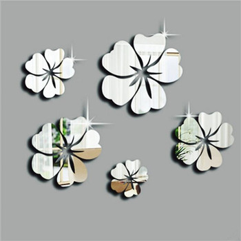 5pcs diy Petal crystal mirror wall stickers acrylic solid  wall stickers bedroom living room decoration TV background art wall 1