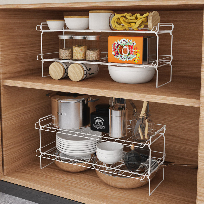 Kitchen Cabinet Interior Shelf Cabinet Receives Layered Partition Kitchen Storage Bin Under Shelf Wire Rack Sundries Rack