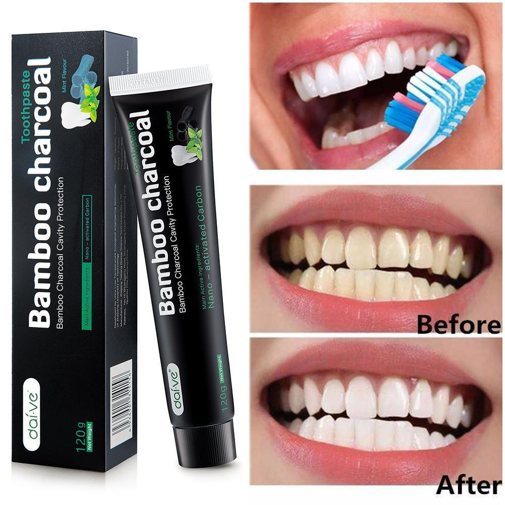 120g Bamboo Charcoal Teeth Whitening Toothpaste Oral Teeth Stains Care Bamboo Toothpaste Hygiene Remove Oral Charcoal E8N4