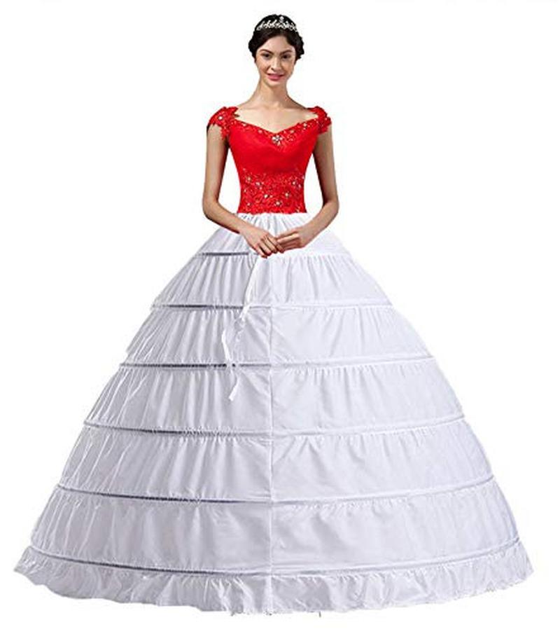 Women White Crinoline 6 Hoop long Petticoats Skirt Slips Floor Length big Underskirt for Ball Gown Wedding Dress