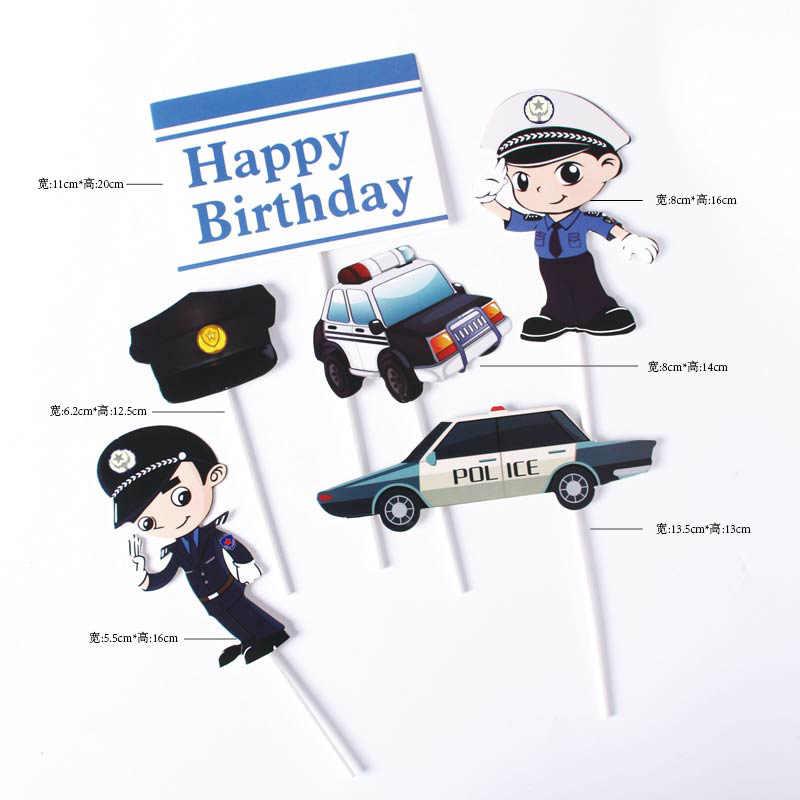 Desenhos animados pouco polícia sonho tema feliz aniversário bolo de papel topper decoração do bolo crianças meninos festa suprimentos crianças favores