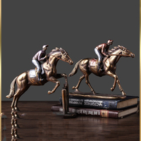 American Retro Resin Horse Racing Statue Ornaments Art Home Livingroom Table Figurines Decoration Office Desktop Sculpture Craft