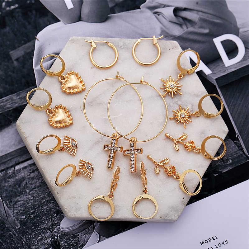 IF ME Fashion Mixed 7Pairs/Set Gold Metal Round Circle Hoop Earrings Set For Women Heart Cross Eyes Pendant Earrings Jewelry New