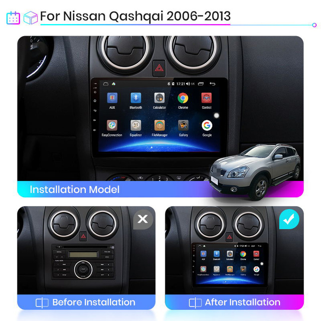 Junsun V1 AI Voice Control Android 10 Car Radio Multimidia GPS For Nissan Qashqai J10 2006 2007 2008 2009 -2013 2 din 2din dvd
