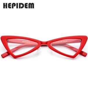 Image 1 - Acétate lunettes cadre femmes marque concepteur 2019 nouveau Transparent clair lunettes femme chat oeil lunettes lunettes pour femme