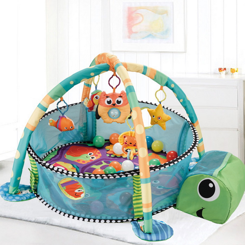 CYSINCOS Infant Multi-functional Marine Ball Pool Fitness Rack Kid Marine Ball Fence Game Blanket Childs Saft Activity Game Pool