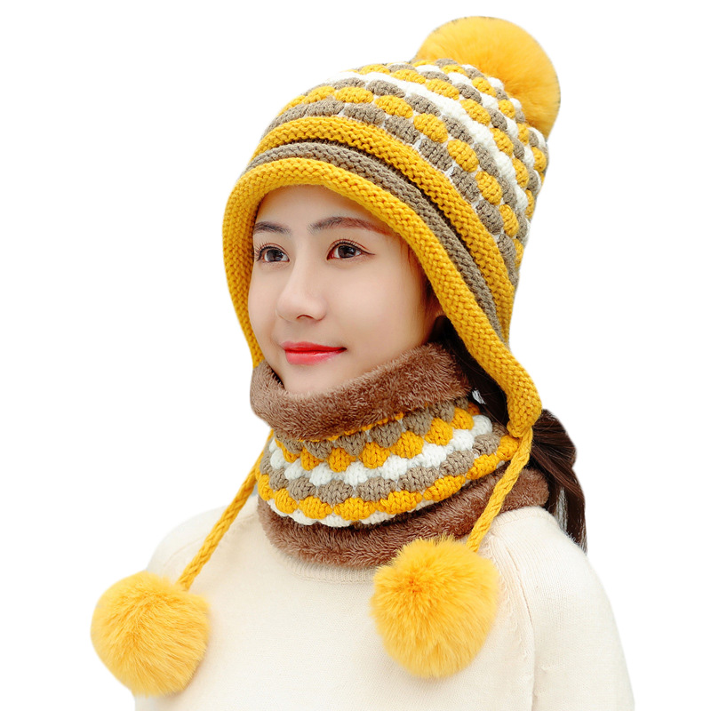 Winter Women Pompom Ball Knitted Hat Scarf Set For Female Thick Warm Beanies Cap Girls Ski Cycling Winter Plush Hats Collar Sets