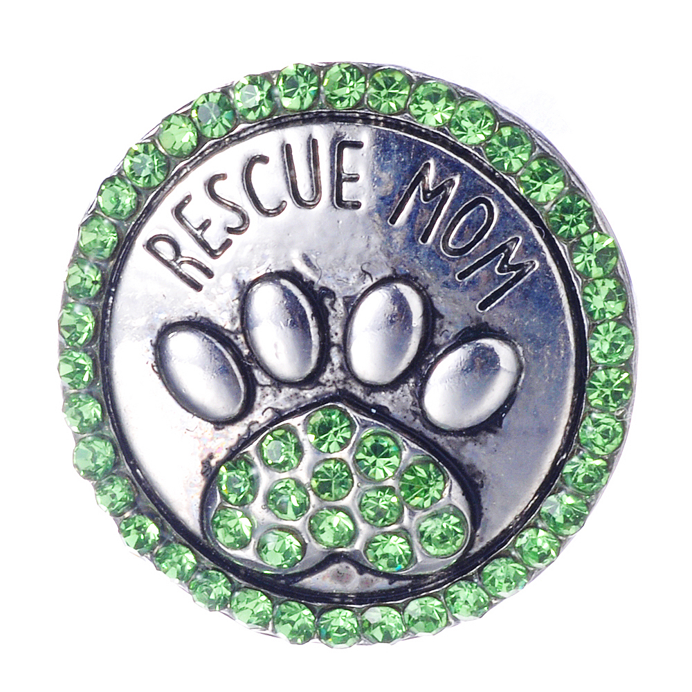 Rescue Mom 18mm Snap Buttons For Ginger Jewelry Dog Cat Paw Print For Lady Girl