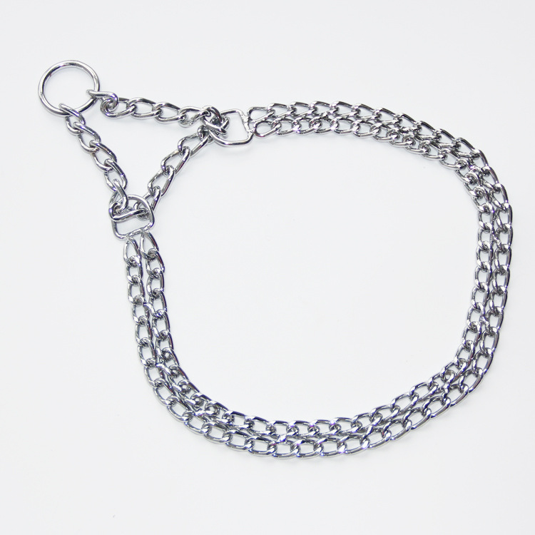 Double Row Dog Neck Ring Stainless Steel P Pendant Pet Metal Neck Ring Chain Dog Snake Chain Two Rows Dog P Pendant Wholesale