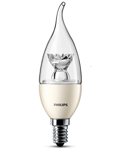 Philips Vela (Regulable) 8718291765882 3.5W E14-Lámpara LED Cálido, Metálico, Transparente, Color, 3.9 Cm, 13.2 Cm E14, 3.5 W,